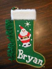vintage felt green Christmas stocking Santa Bryan