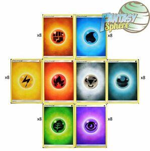Pokemon  Energie Lot 48 (8x6) cartes - Mix  terre feu eau plante electrique ect.