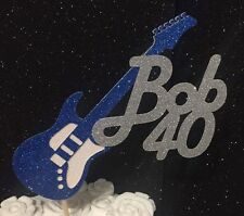 Personalised guitar boys girls rock birthday cake topper glitter age men ladies