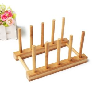 1X(Dish Rack Pots Wooden Plate Stand Wood Kitchen Cup Display Drainer Holder NEW