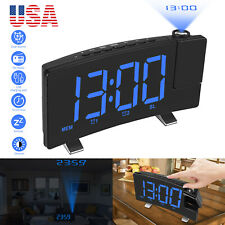 "7"" Lcd Digital Led Projector Projection Fm Radio Snooze Alarm Clock Dual Alarm"