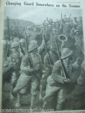 ANTIQUE PRINT 1917 THE WAR ILLUSTRATED CHANGING GUARD SOMEWHERE ON THE SOMME ART