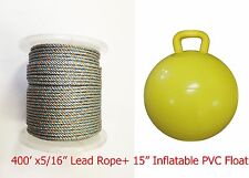 "Kufa Sports 5/16"" x 400' Lead Core Rope & 15"" Inflatable Yellow Floats …"