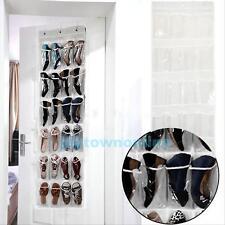 24 de bolsillo sobre la puerta organizador de zapato colgante Colgador de ahorro de espacio de almacenamiento rack