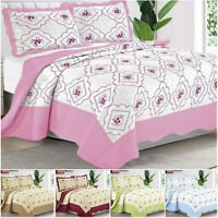 3 Piece Bedspread Quilted Bed Throw Single Double King Size Reversible Bedding