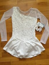 "Icings NWT WHITE  LACE ""HOLIDAY SHOW"" COMPETITION  ICE FIGURE ICE SKATING DRESS"
