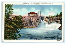 State Dam at Indian Lake New York NY Postcard Adirondack Mountains 1934