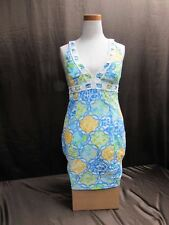 Lilly Pulitzer Blue Yellow Monkey Halter Dress Embellished Women Size 4