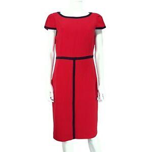 M&S Red Black Trim Short Sleeve Dress UK 14 Round Neck