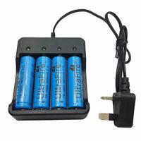 4X 18650 Batteries 3800mAh 3.7V Li-ion Rechargeable Battery + 4.2V UK Charger