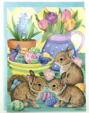 Happy Easter Greeting Card By Leanin' Tree Super Cute Card Bunnies Eggs Flowers