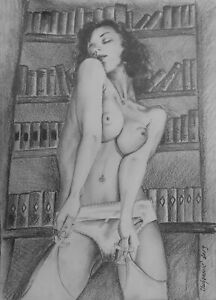 Original Pin Up Art Pencil Drawing Painting Erotic art Frauenakt
