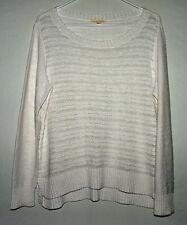 Womens Eileen Fisher Linen Blend Sheer Sweater in White - Size Medium