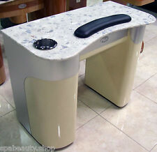 ALUMINUM/BEIGE + MARBLE TOP HIGH END BEAUTY SALON/SPA NAIL MANICURE TABLE NEW
