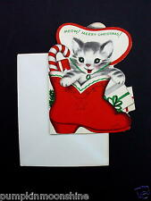 #H126- Unused Marjorie M. Cooper Xmas Greeting Card Kitten Inside Cowboy Boot