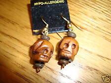 Skull head wooden hand carved earrings mini  NEW Goth wood