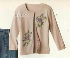 RARE Anthropologie 03 Cross Stitch Heart Sequin Cardigan Cashmere Sweater 8 10 M