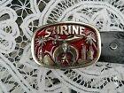 Shriner Masonic belt buckle with black leather Brushy Creek belt size 36
