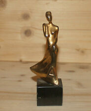 Vintage abstract woman figure hand made brass figurine
