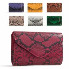 Ladies Snakeskin Envelope Clutch Bag Animal Print Evening Party Handbag KH2049