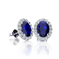 10K GOLD 1 1/3 CARAT OVAL SAPPHIRE AND HALO DIAMOND EARRINGS IN 3 GOLD COLORS