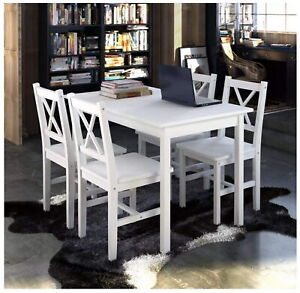 Wooden Table with 4 Chairs Home Dining Room Kitchen Dinner Furniture Set White