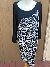 New $139 Chico's Black Label Animal Wedge Dress Size 3 = XL 16 18 NWT White Gray