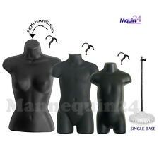 3 Black Mannequins :Female, Child & Toddler Body Forms +1 Stand +3 Hangers