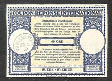 IRC INTERNATIONAL REPLY COUPON TROLLHATTAN SWEDEN 60 ORE 1959