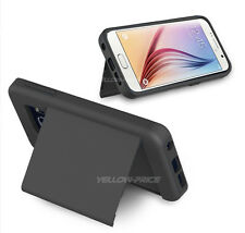 [+Screen Film] 2-IN-1 ID Card Holder Slot & Stand Case for Samsung Galaxy S6