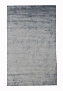 "5X8 Silk Modern Handmade Area Rug Gray Contemporary Carpet (5'1"" x 7'11"")"