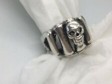 Interesting Vintage Sterling Silver Skull Ring in a Size 4
