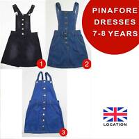 Girls Denim Pinafore Dresses Dungarees 7-8 Years Brand New 50% OFF(PD7-8)