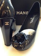 CHANEL NAVY ESCARPINS PATENT LEATHER COURT SHOES WITH CAMELLIA SIZE 39 BOX BAGS