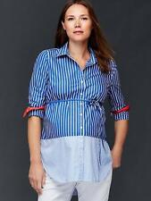 NWT Gap Maternity Blue Multi Print Tie-Belt Color Block Shirt Top 181364 Size L