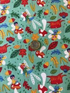 fairy  mushrooms woodland 100% cotton fabric green patchwork quilting dress cra