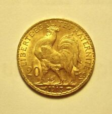 """1913 French Gold 20 Franc's """" Rooster """" KM # 857 - Nice U-Grade!"""