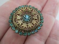 Vintage Claw Set Turquoise Pressed Brass Tone Flower Petite C Clasp Brooch Pin
