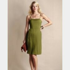 Lands End Canvas Pleated Ballet Dress Stem Green Sleeveless Fit & Flare 12 NEW