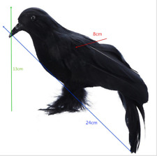 2-Pack Realistic Crows Lifesize Large Handmade Feathered Crow for Seasonal Décor