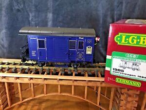 LGB 1985 Blue Postal Car * Metal Wheels* lights * Original Box * G Scale *