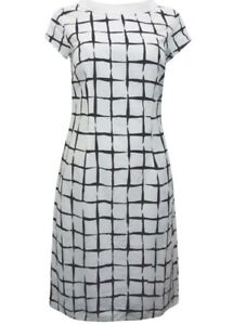 NEW GRACE WHITE PURE COTTON SCOOP NECK GRID PRINT SHIFT DRESS SIZES 10 TO 18
