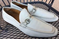 Men's Gucci Silver Horse Bit All Leather Ivory Moccasins Loafers 8.5D 174325