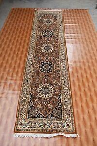 2x10 Hand-Knotted Oriental Runner Rug Hallway Carpet Rust Floral Oushak Chobi