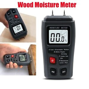 2 Pins LCD Digital Wood Moisture Meter Humidity Tester Timber Damp Detector Test
