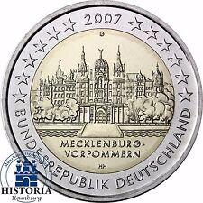 Deutschland Schweriner Schloss 2 € Gedenkmünze 2007 bankfrisch Mzz G Karlsruhe