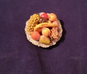 Vintage Lovely Dollhouse Miniature Fruit Bowl with Realistic Fruit~Artisan 1:12