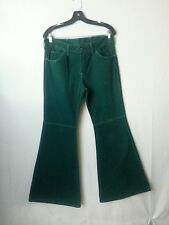 RARE VTG Men Wide Bell Buttom Pants Jeans Elephant Leg Green Hippie Disco 32-31