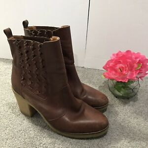 JASPER JEERA Anthropologie Ankle Boots TRIANGLE TRAILS Brown Leather Italy Sz 10