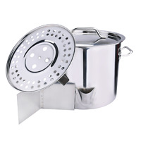 Outdoor Stainless Steel Tamale Steamer Cooking Stockpot w/Lid Kitchen Gas Cooker